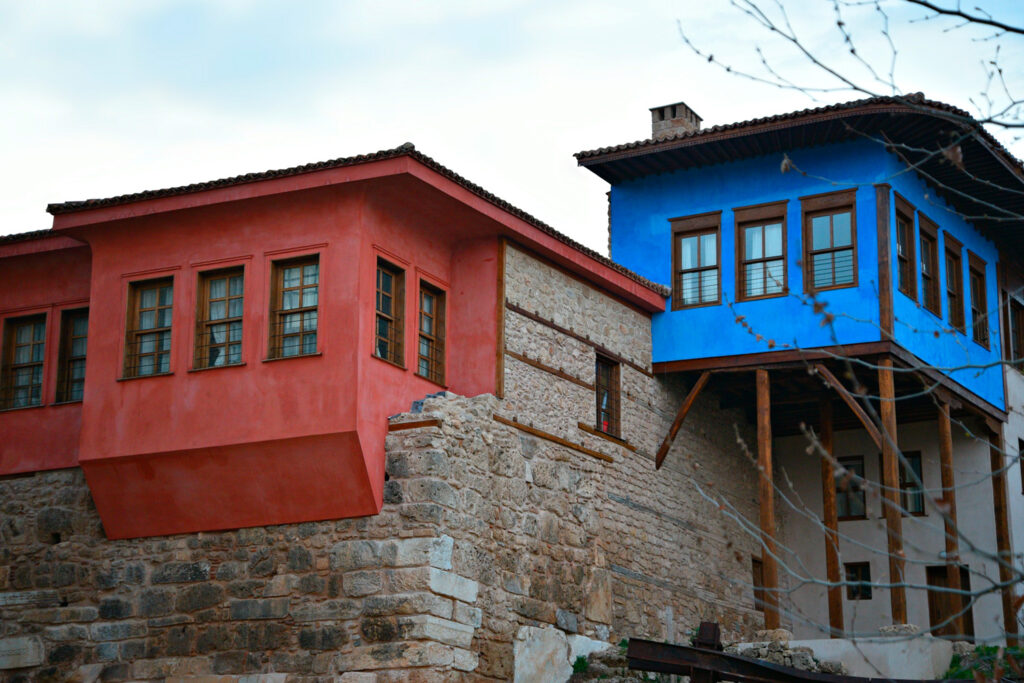 Typical architecture mansions with stone walls and colourful facades located in the Jewish District of Veria in Central Macedonia, Greece.