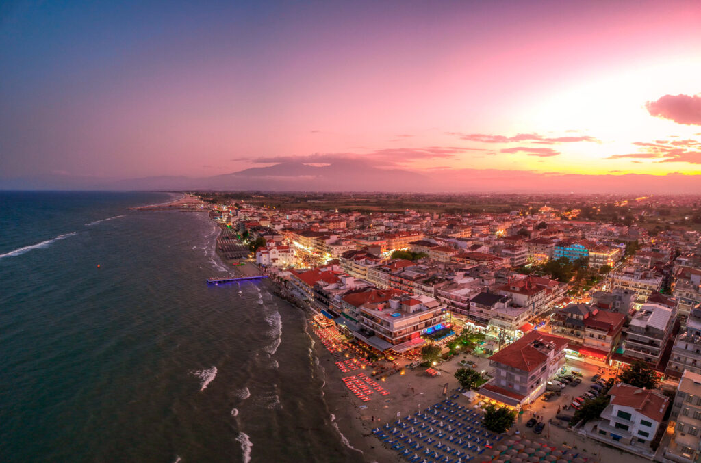 Panorama view over the coastal town of Paralia Katerini, Greece at sunset. Located about 8 Km from the city of Katerini in Pieria, central Macedonia, Greece