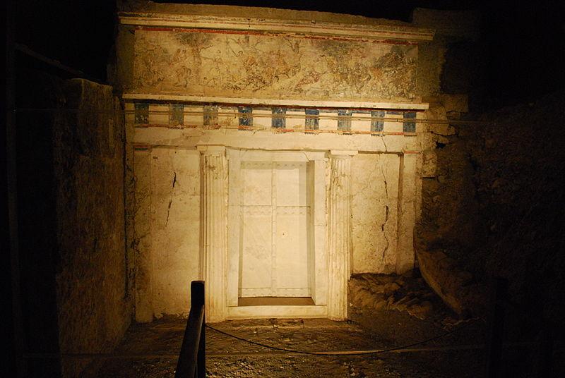 Vergina Royal Tombs, Facade of Philip II tomb, Macedonia Greece