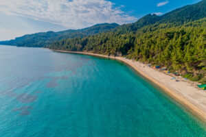 View of Fava Beach in Vourvourou at Chalkidiki, Greece. Aerial Photography.