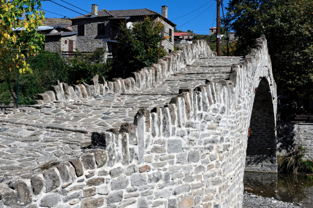 View of the traditional stone bridge of Dotsiko near Grevena in West Macedonia Greece