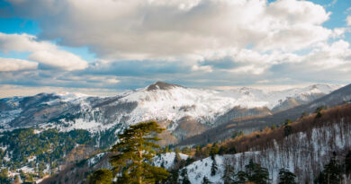 Mountainous landscape with snow in Grevena, West Macedonia Greece