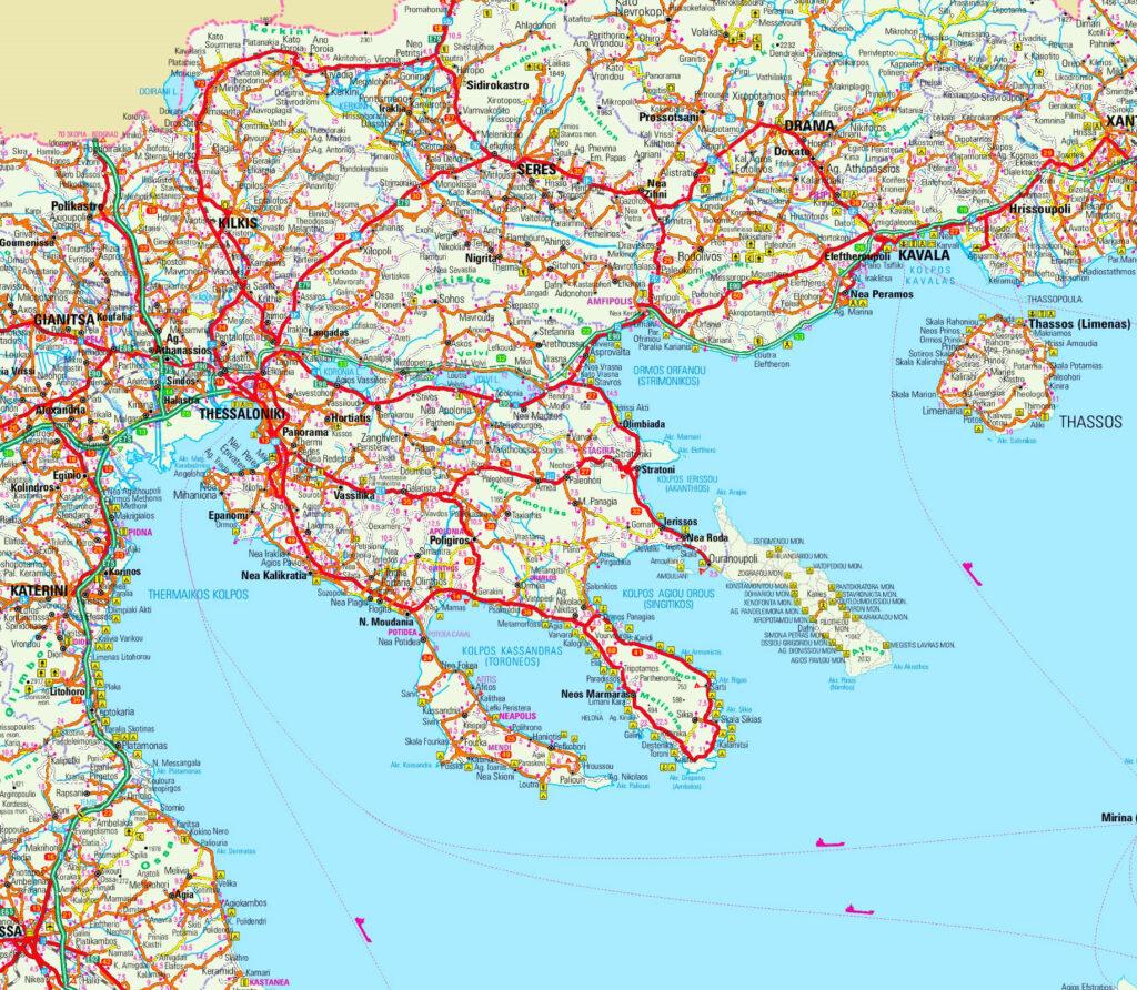 Map of Halkidiki (Chalkidiki) Macedonia, Greece