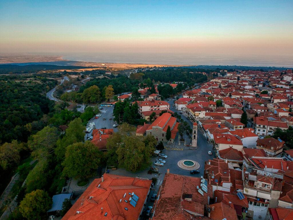 Aerial panoramic view of Litohoro village, beneath the Mount Olympus. Pieria, Greece
