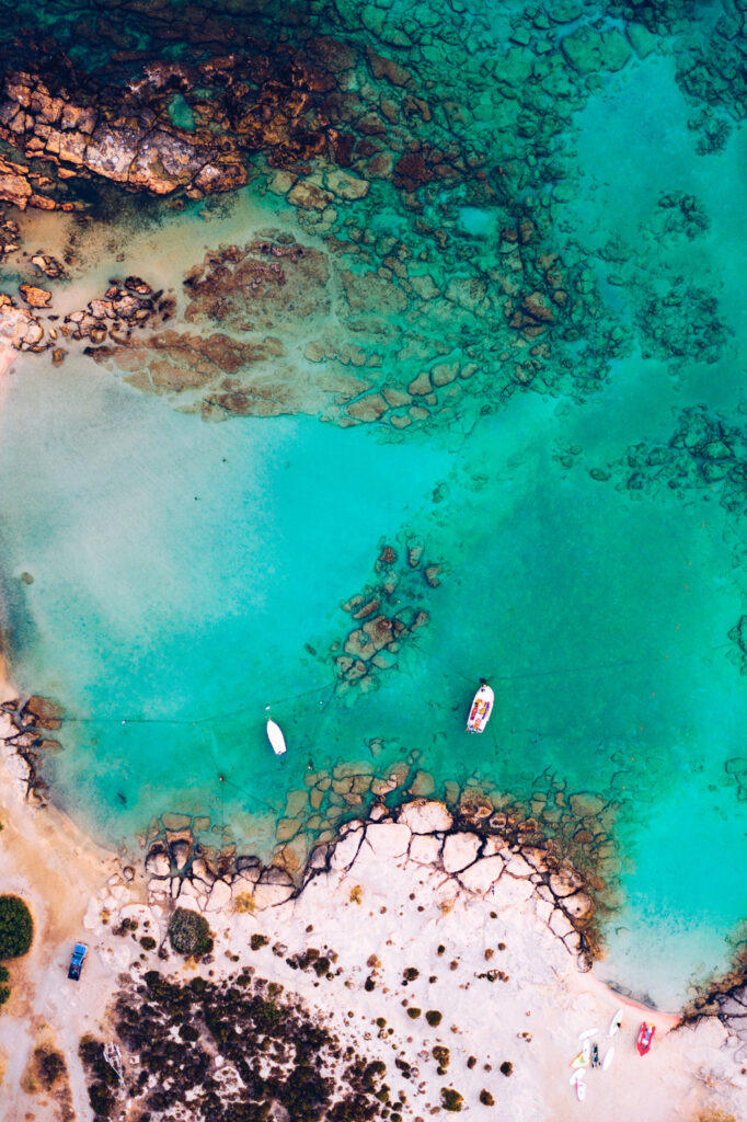 Aerial view of beautiful turquoise water with pink sand Elafonissi, Crete, Greece