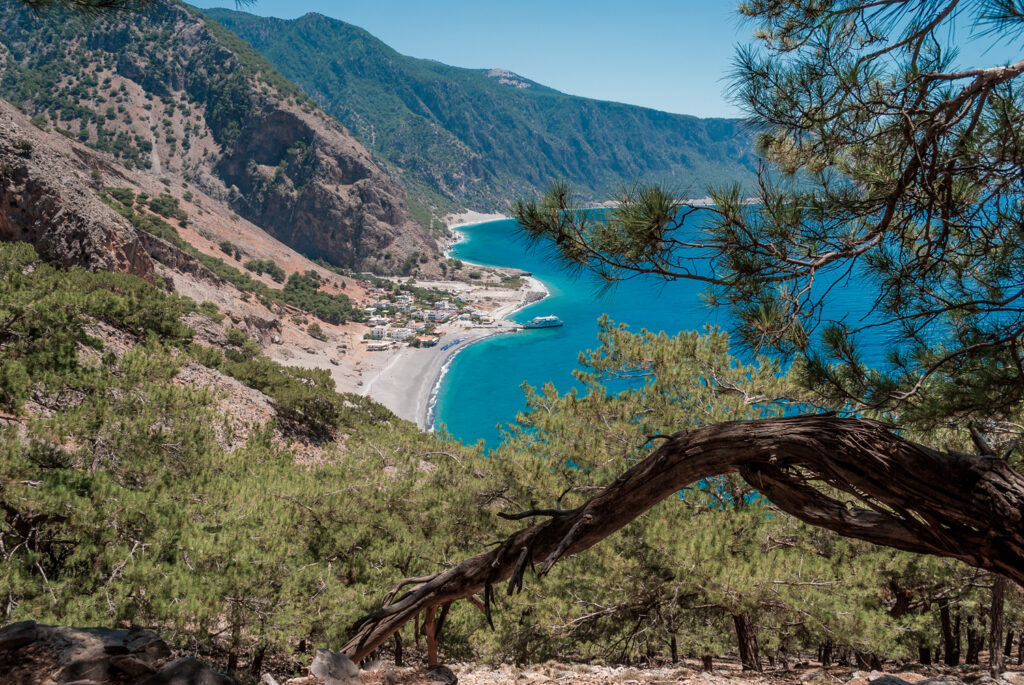 Agia Roumeli beach in Chania of Crete, Greece. The village of Agia Roumeli is located at the exit of Samaria gorge