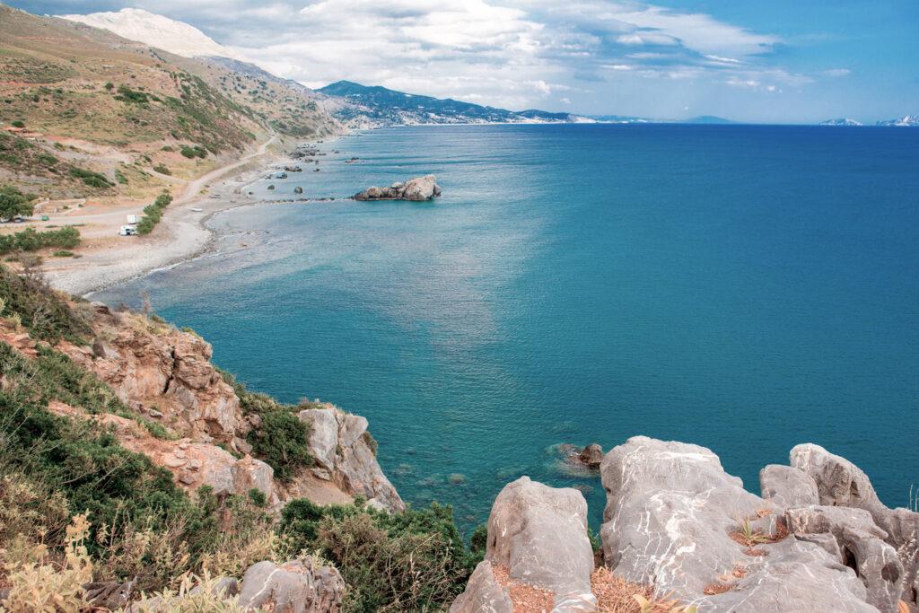 Beautiful landscape at Kourtaliotiko Gorge and Preveli beach on the southern coast of Crete Greece
