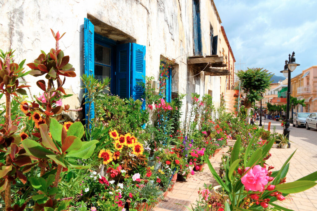 Flowers in old town of Paleochora (or Palaiochora), southern Crete, Greece