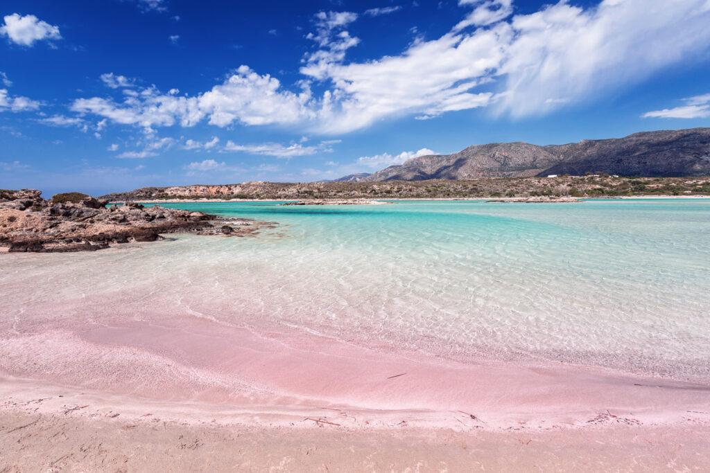 Elafonisi beach - white sand with purple hues, Chania Crete, Greece
