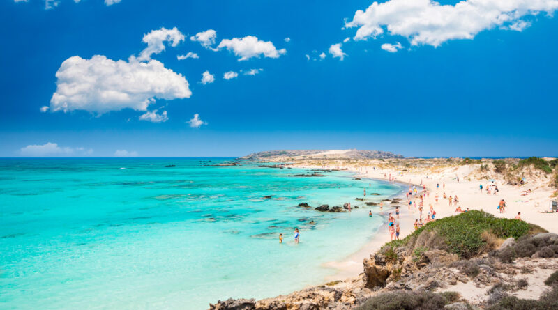 Elafonissi Lagoon with pink hued sand, Crete Island, Greece. Elafonisi beach is one of the best beaches in Europe