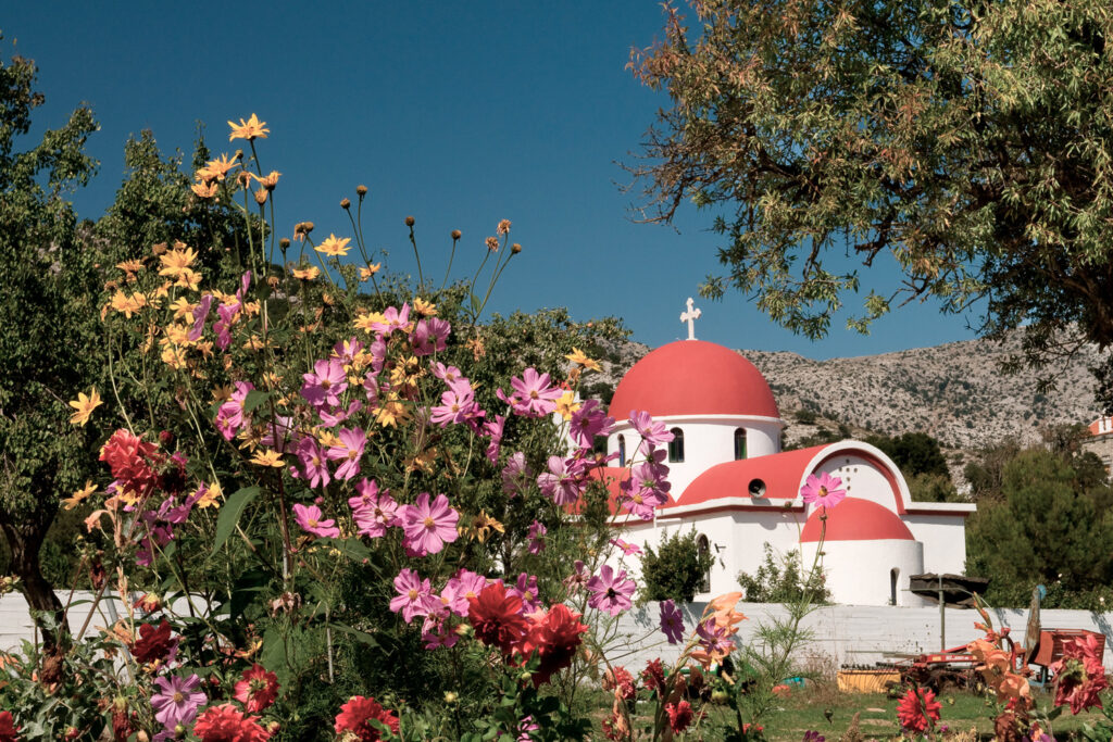 Greek catholic church on Lassithi plateau in Crete, Greece