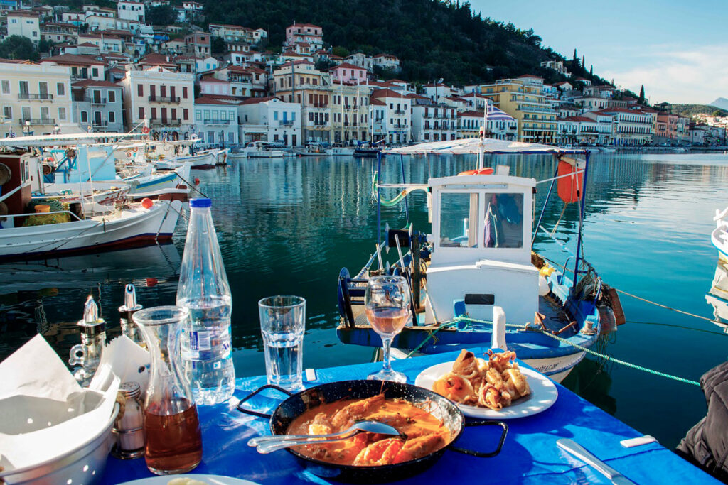 Lunching sea food at Gythio port in Mani, Peloponnese Greece