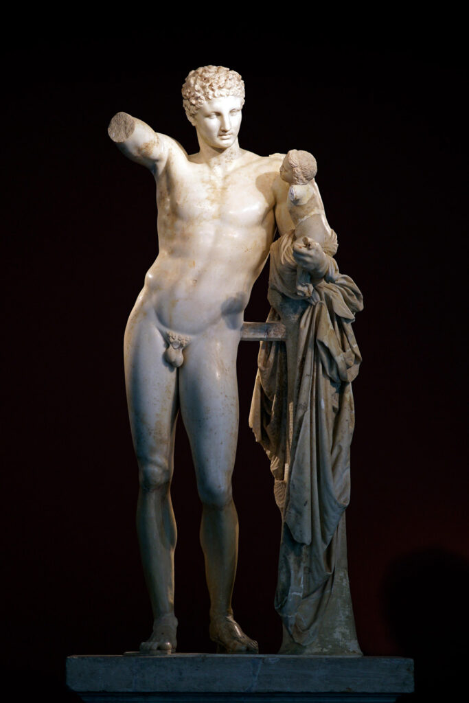 Hermes takes the infant Dionysos to the Nymphs to nurse him, statue at the museum of Ancient Olympia, Peloponnese Greece