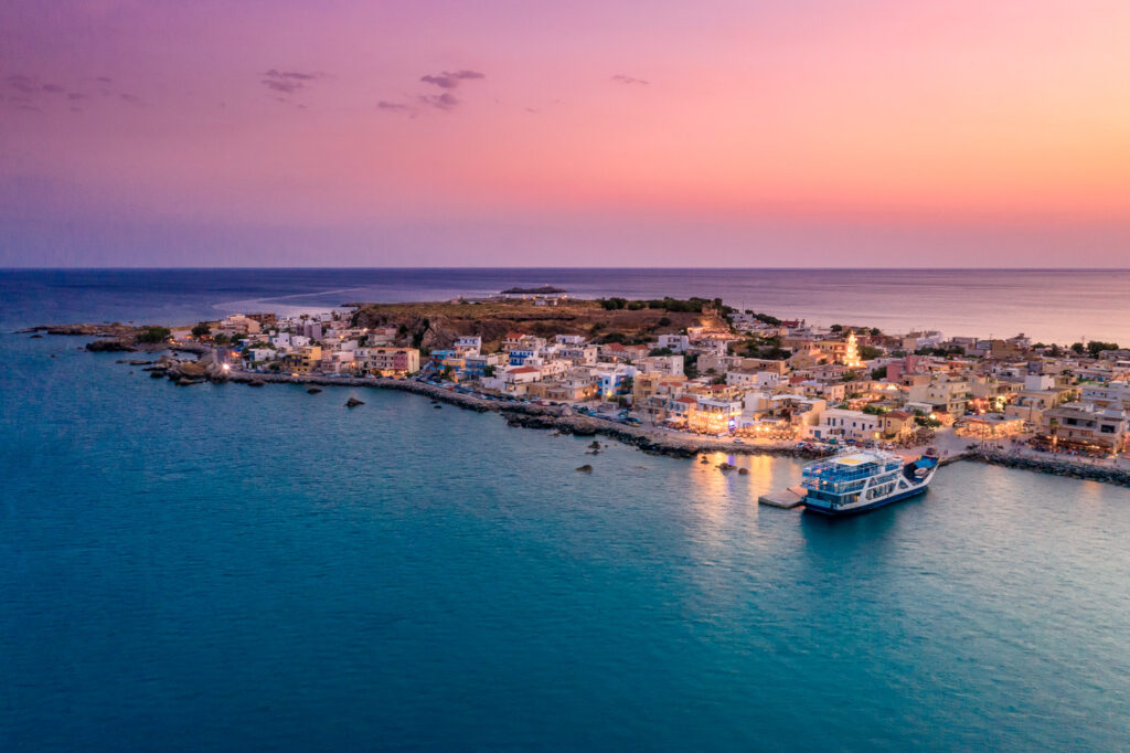 The traditional village of Paleochora at sunset, Chania, Crete, Greece