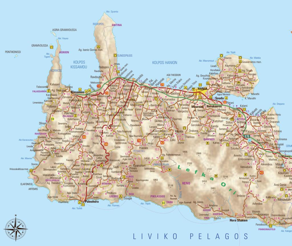 Map of Chania region in Crete, Greece