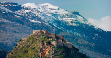 Mystras Castle, and Taygetus mountain on the backdrop, Peloponnese Greece