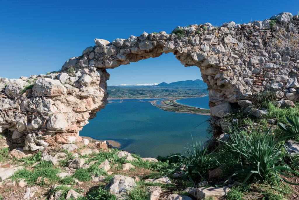 Old Navarino Castle looking over the Pylos bay in Gialova, Peloponnese, Greece