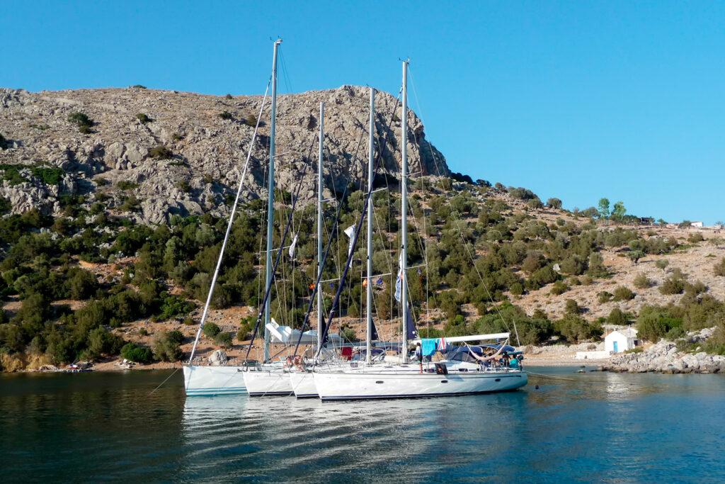 Sailing yachts at Dokos island, Greece