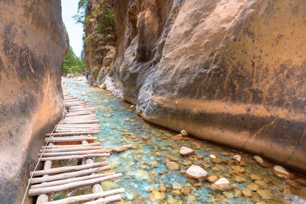 Iron Gates in Samaria Gorge. Crete, Greece