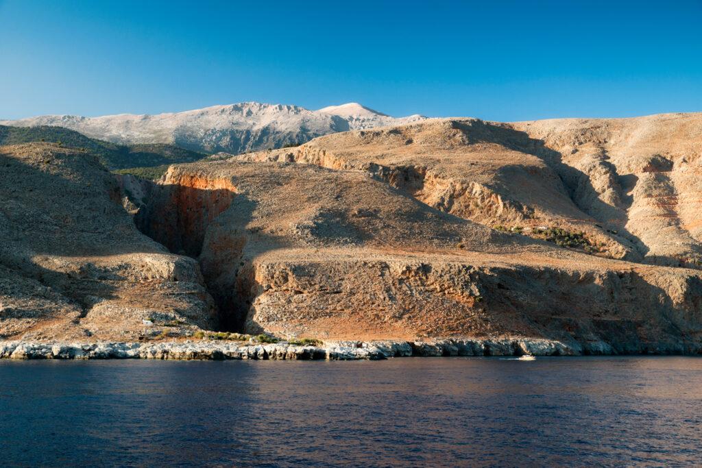 Southern coast of Crete island, Greece. End of Samaria gorge national park.