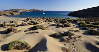 The bay of Paralia (meaning: beach) on the south coast of Antipsara near Psara, Aegean Sea Greece