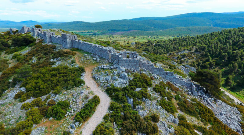 The fortress and ruins of Ancient Egosthena (4th Century BC fortress) in Porto Germanos near Thebes, Boiotia, Central Greece