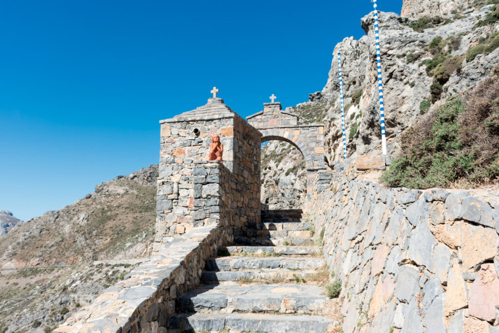 Arch at the entrance to the Kourtaliotiko Gorge in Crete, Greece
