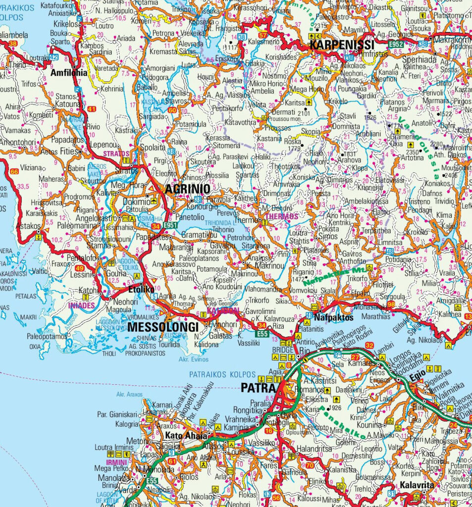 Map of Messolongi, Agrinio, Nafpaktos and Trichonida Lake in Central Greece
