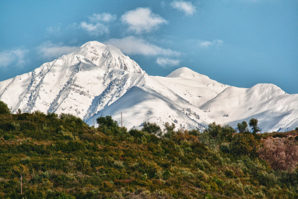 View of Mount Taygetos, Peloponnese Greece