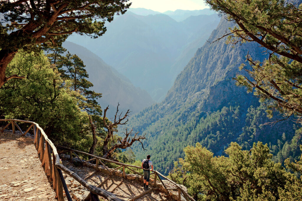 Xyloskalo, which is the steep stone pathway bordered with wooden rails where Samaria gorge starts, Chania region Crete