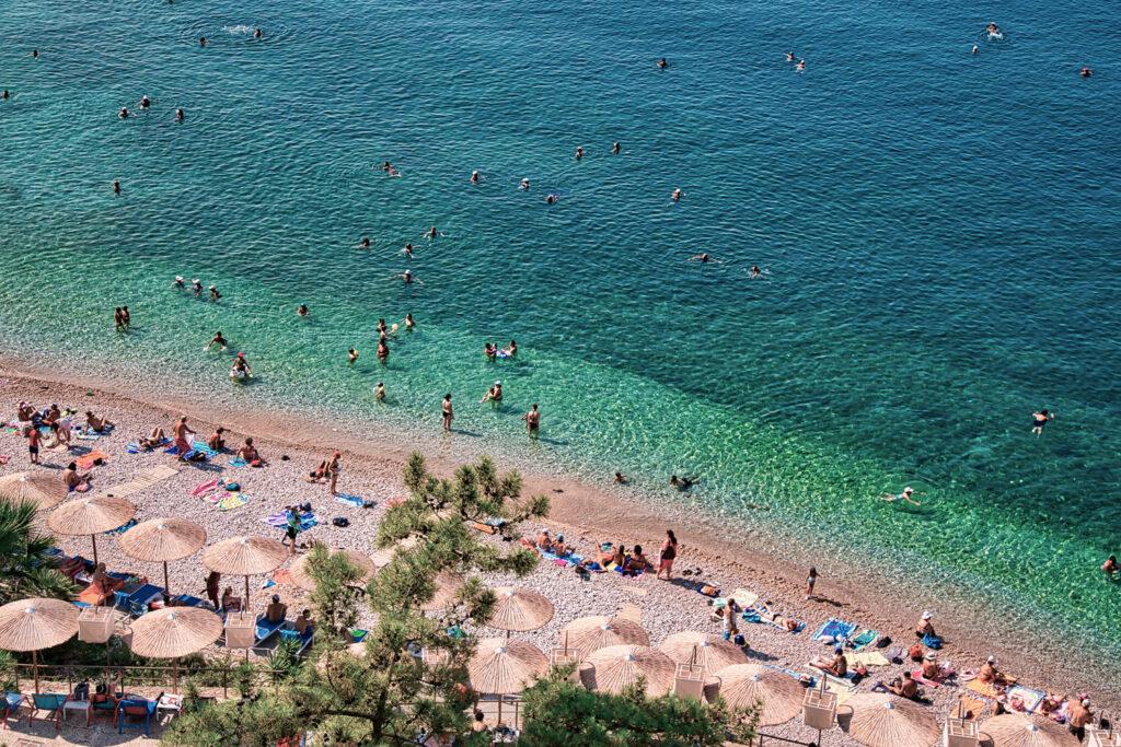 Aerial view of beach Arvanitia in Nafplio, Greece