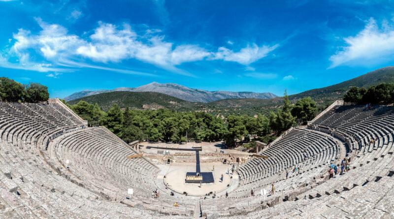 The ancient theatre of Epidaurus in Argolida, Peloponnese Greece