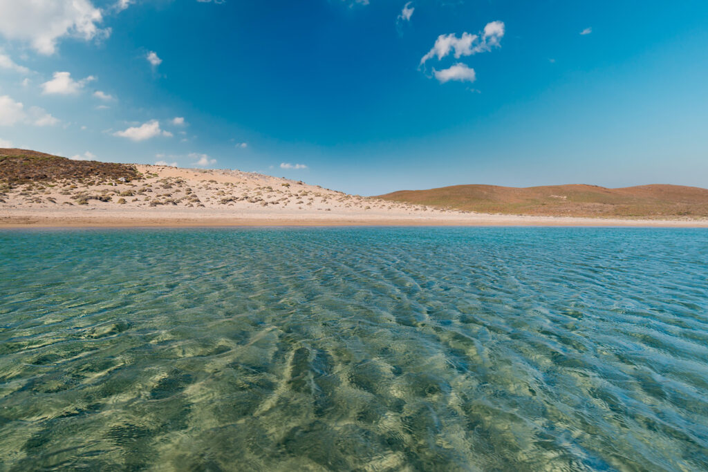 Clear water in the bay of Paralia on the south coast of the Greek island of Antipsara, North Aegean Sea, Greece