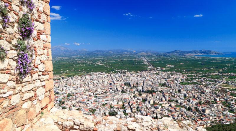 Greek town of Argos seen from Larissa Kastro, Greece