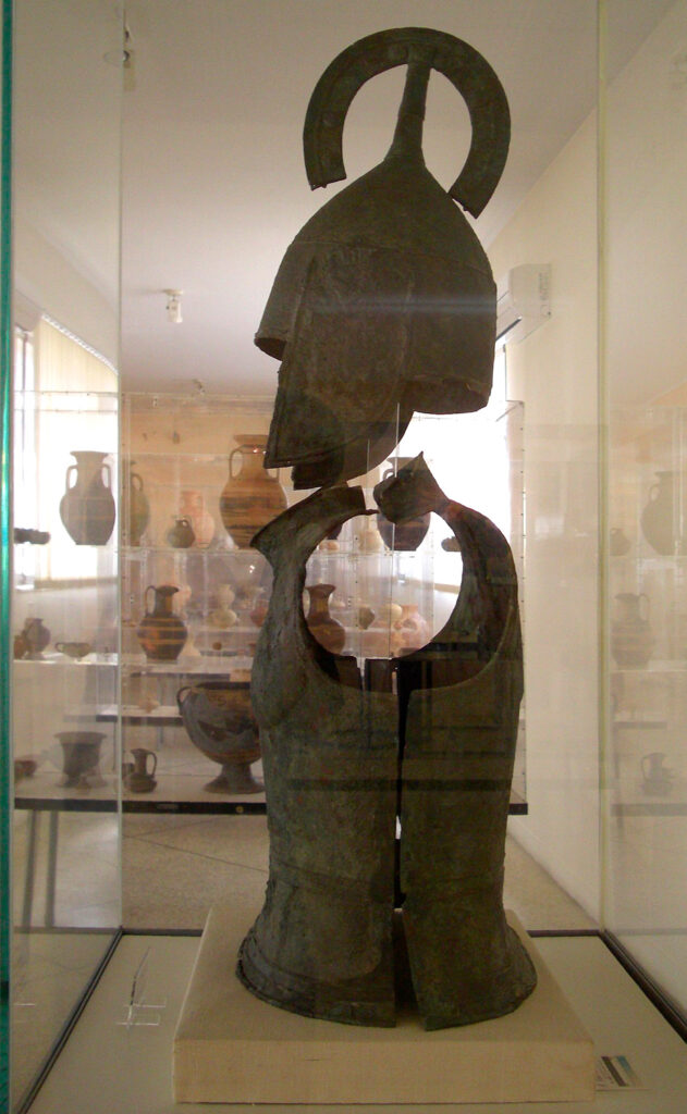 Hoplite armour at the Archeologic Museum of Argos in Greece - Photo by Al Mare