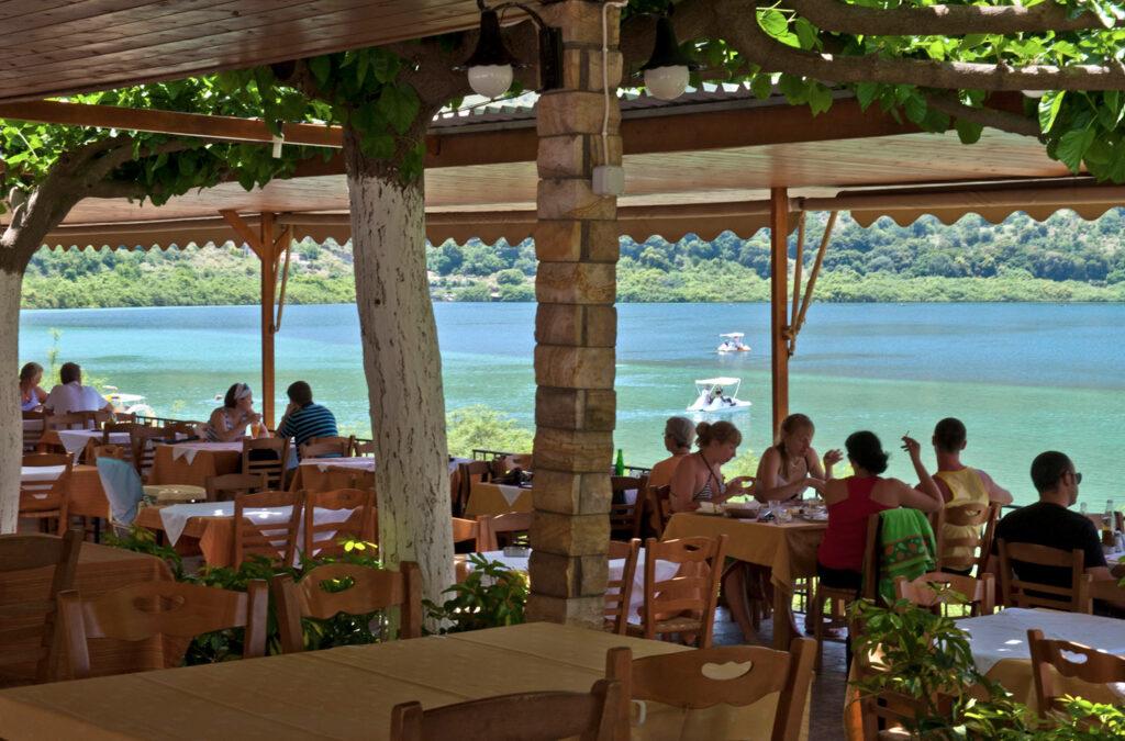 Restaurant at the Lake of Kournas in Chania region, Crete Greece - Photo by Y. Skoulas