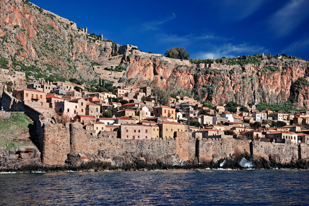 """Impressive view of the medieval """"castletown"""" of Monemvasia from the sea. Monemvasia is often called """"The Greek Gibraltar"""", Lakonia Peloponnese Greece"""