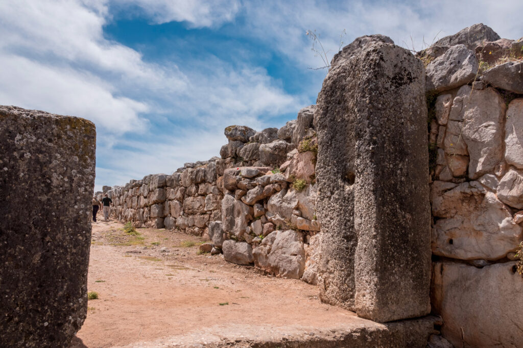 Massive boulders form the walls of the fortress and palace of Tiryns in Argolida, Greece