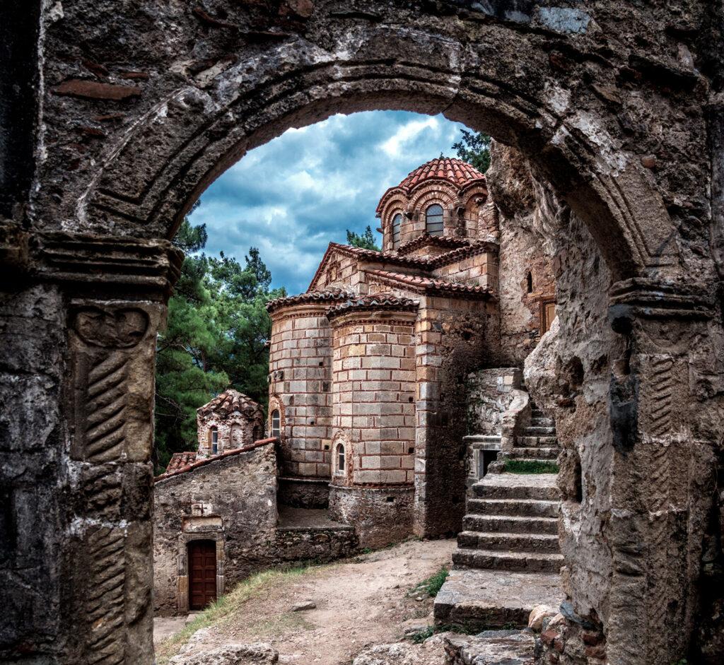Medieval Greek Orthodox Church of Evengelistria, in Byzantine Mystras castle, Greece
