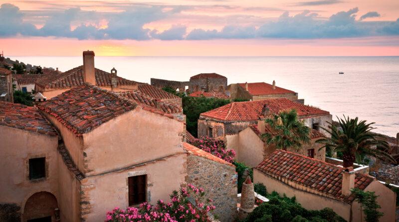 Monemvasia village in Peloponnese, Greece