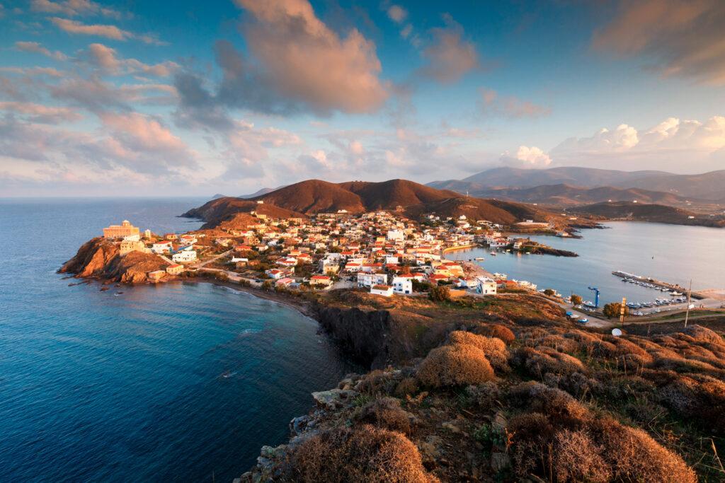 Morning view of Psara village and Agios Nikolaos church, Psara island, North Aegean Sea, Greece