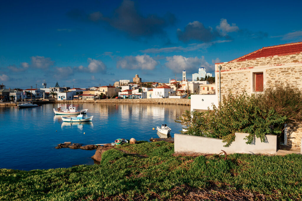 Morning view of Psara village and its harbour, Psara island, North Aegean Sea, Greece