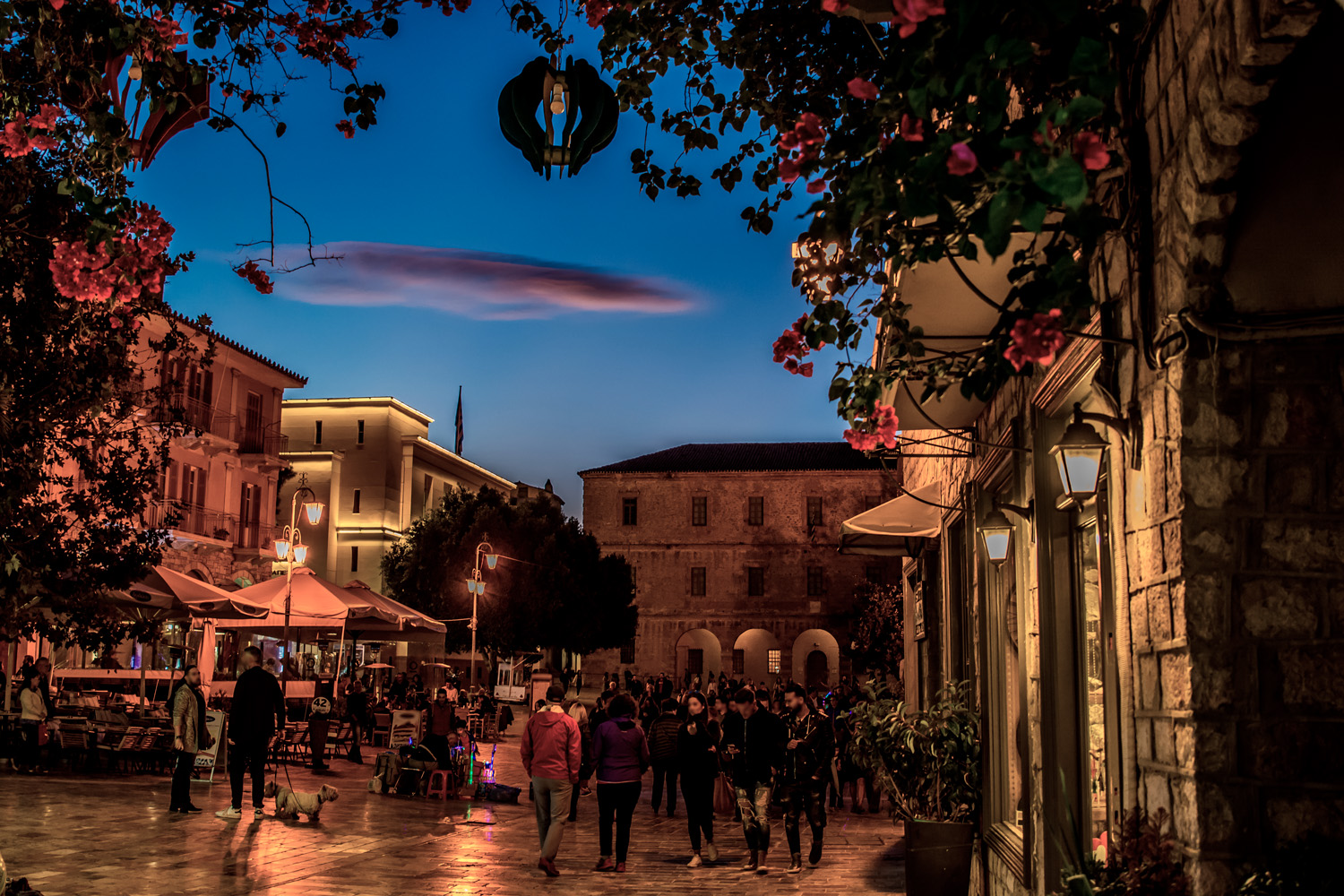Sunset at Nafplio central square, Peloponnese Greece