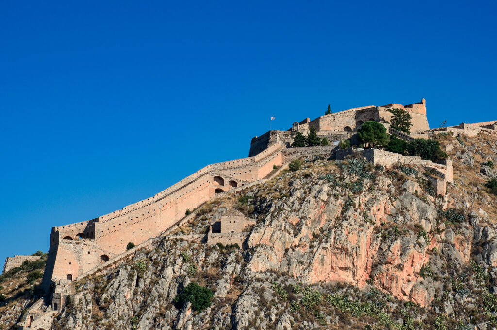 Palamidi fortress on the hill above Nafplio, the old capital of Greece