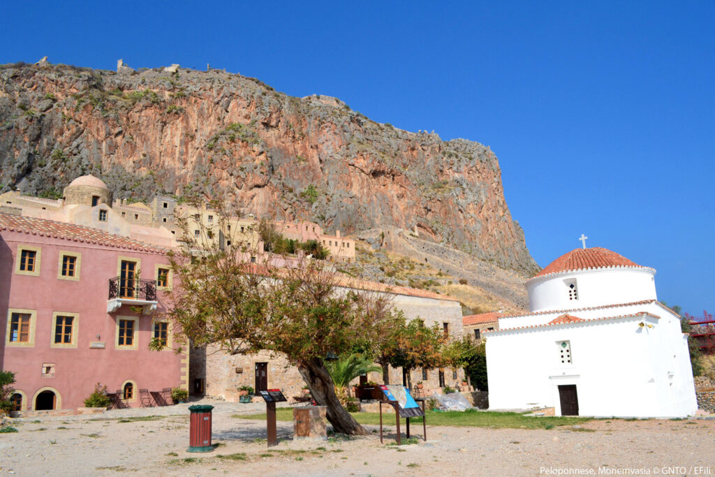 Church at Monemvasia, the Medieval castle town built on to a seaside rock in Lakonia Peloponnese Greece - Photo by E. Fili