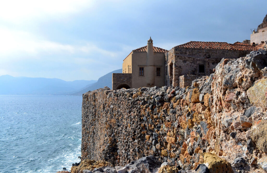 Monemvasia, the Medieval castle town built on to a seaside rock in Lakonia Peloponnese Greece - Photo by E. Fili