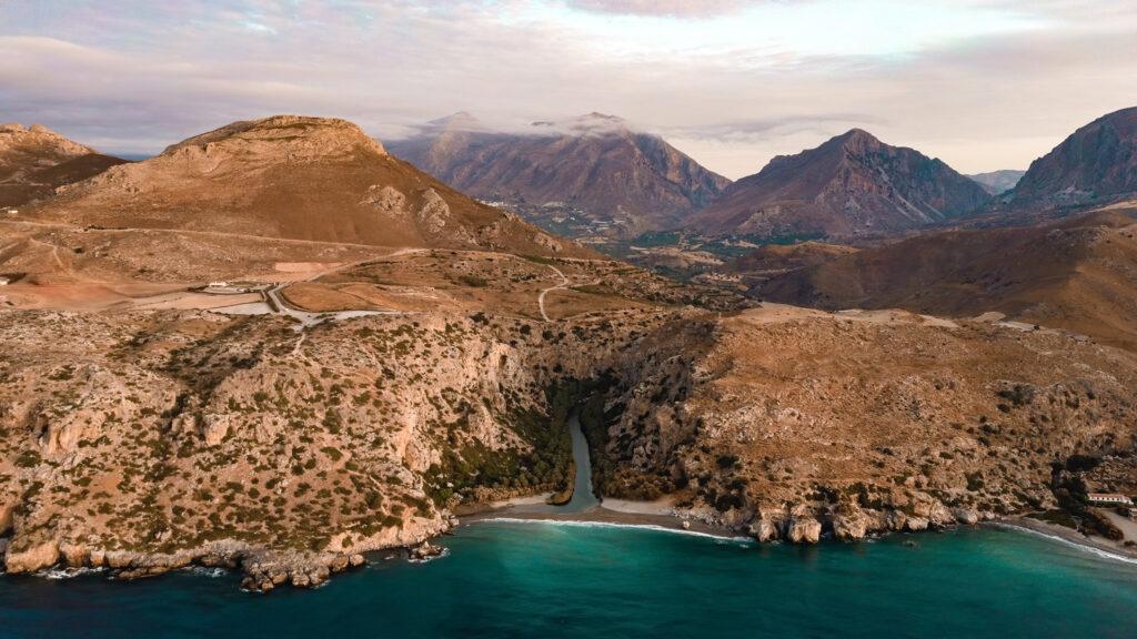 Preveli beach, at the exit of Kourtaliotiko gorge in southern Crete Greece