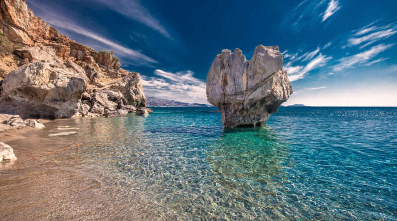 Preveli beach in Crete island with azure clear water, Crete is the largest and most populous of the Greek islands.
