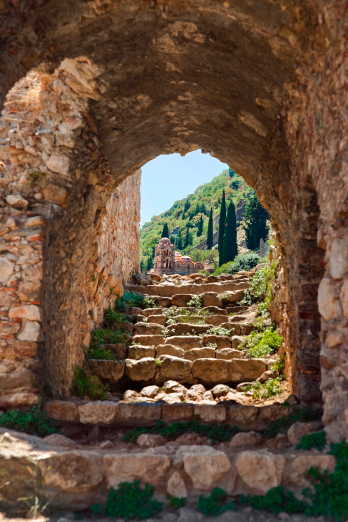Ruins of old Mystras Byzantine fortress town in southern Peloponnese Greece