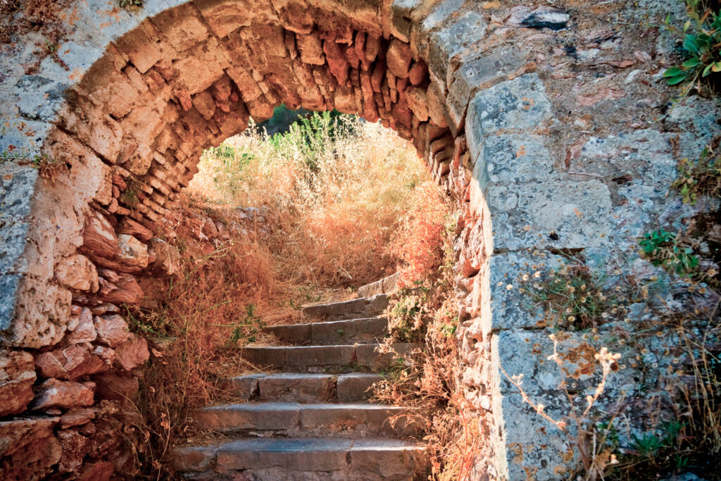 Stairways up to Palamidi fortress in Nafplio Greece